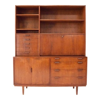 Danish Modern Teak Secretary Desk With Storage For Sale