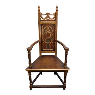 19th Century French Gothic Style Oak Arm Chair