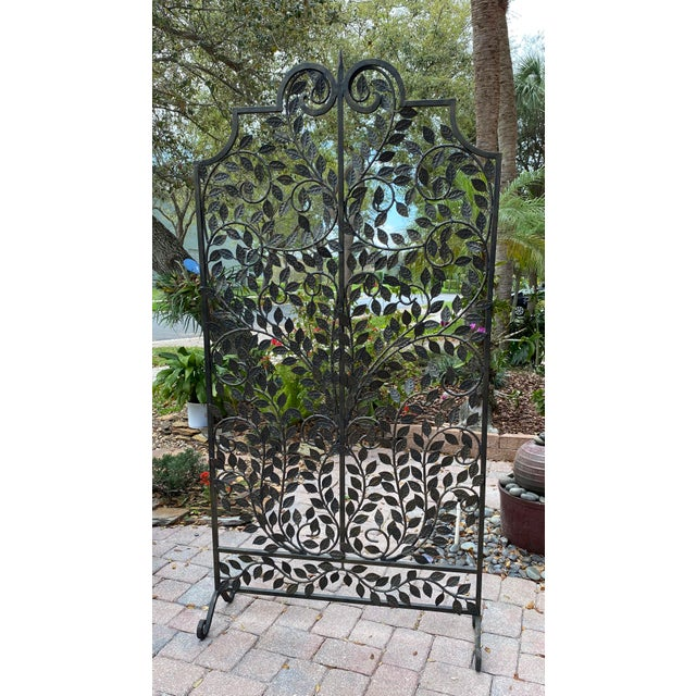 Wrought Iron Handmade Forged Metal Scroll Panel Screen Divider For Sale In West Palm - Image 6 of 6