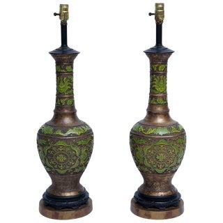 Apple Green Cloisonné and Gilt Bronze Table Lamps - a Pair For Sale