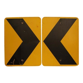 Graphic Pop Art Metal Directional Signs - A Pair For Sale