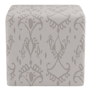 Cube Ottoman in Ikat In Grey For Sale