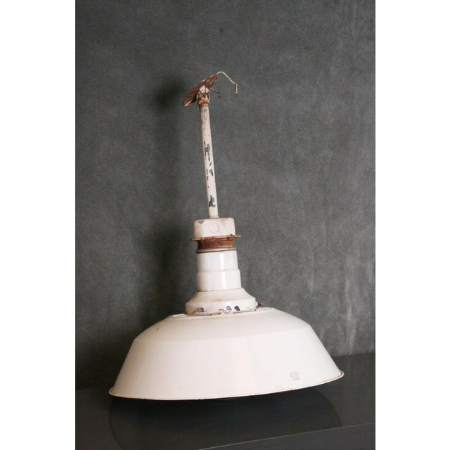 Ceiling Lamp Bracket: Vintage Industrial White Porcelain Ceiling Light With