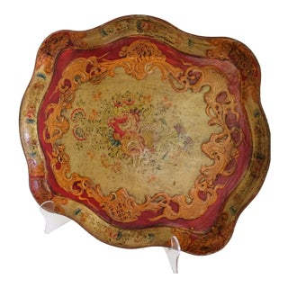 Vintage French Country Floral Baroque Style Raised Relief Composite Tray Made in Japan