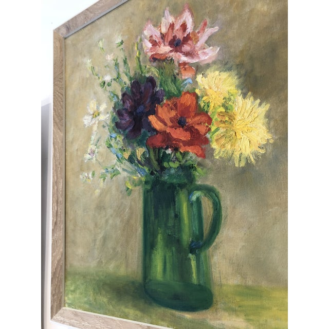Framed Vintage Floral Oil Painting, M. Schwartz For Sale - Image 4 of 5