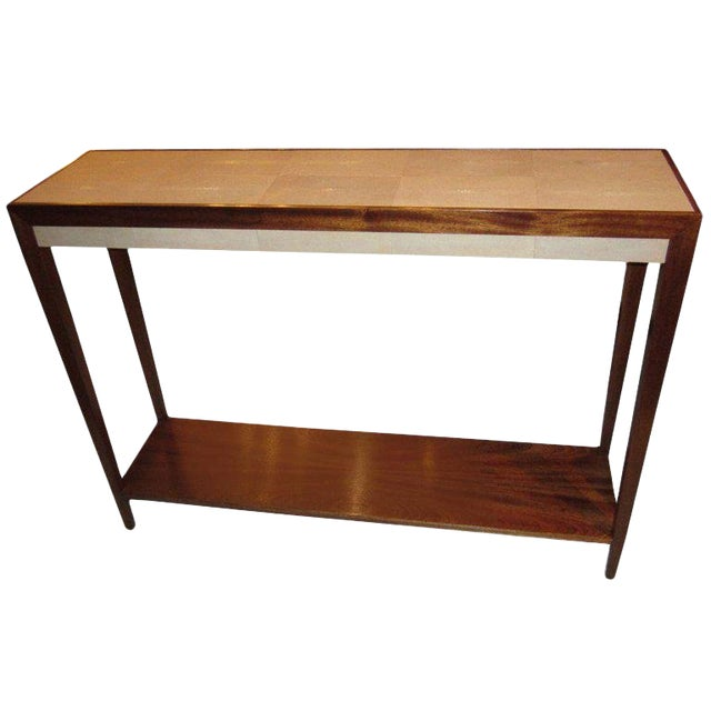 Shagreen Mahogany Console For Sale