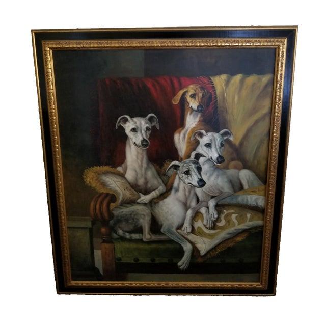Maitland Smith-Style Greyhound Dog Painting For Sale