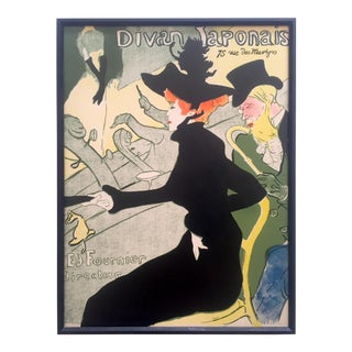 "Henri De Toulouse Lautrec Rare Vintage Early 20th Century Framed French Lithograph Print "" Divan Japonais "" 1893 For Sale"