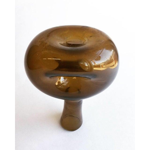 Boho Chic Vintage Amber Vase For Sale - Image 3 of 6