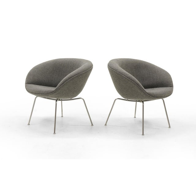 Contemporary Arne Jacobsen for Fritz Hansen, Restored, Maharam Fabric Pot Chairs - a Pair For Sale - Image 3 of 8