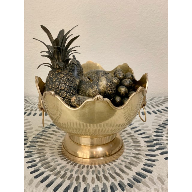 Mid 20th Century Vintage Brass Fruit Bowl With Decorative Fruits For Sale - Image 5 of 8
