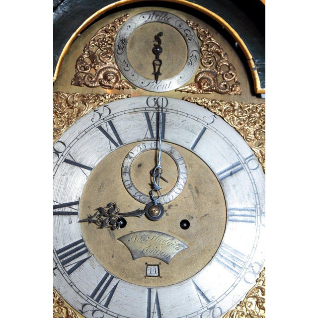 George II Lacquered Chinoiserie Tall Case Clock Inscribed Jno. Fladgate, London For Sale - Image 10 of 13