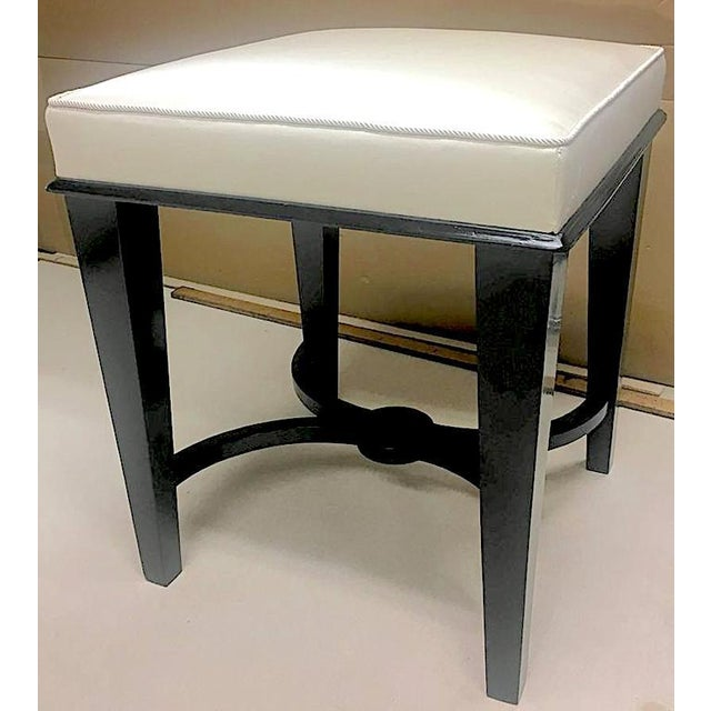 White Andre Arbus Superb Pair of Neoclassic Stool Newly Covered in Silk For Sale - Image 8 of 9