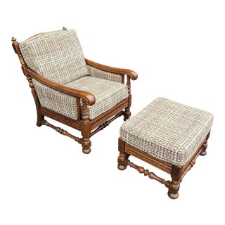Ethan Allen Royal Charter Collection Carved Oak Lounge Chair & Ottoman For Sale