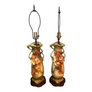 Antique Austrian Amphora Hand-Painted Porcelain Table Lamps - a Pair For Sale
