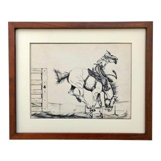 Vintage Western Art Ink Drawing Cowboy Bronco Busting by Mark Keoke Mid Century For Sale