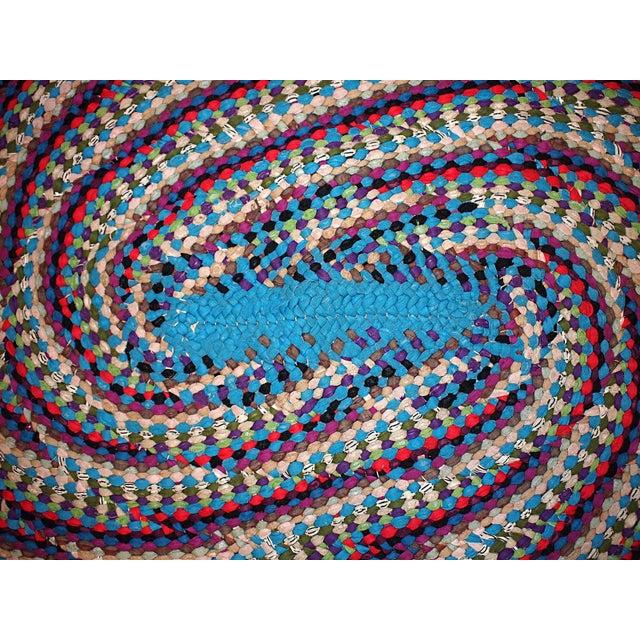 Handmade Vintage American Braided Rug - 3′2″ × 4′1″