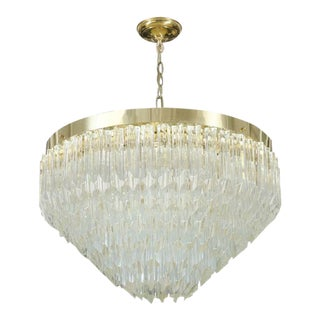 Camer Glass Prism & Brass Frame Pyramid Chandelier For Sale