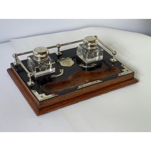 Antique English Double Inkwell Desk Set For Sale - Image 12 of 12
