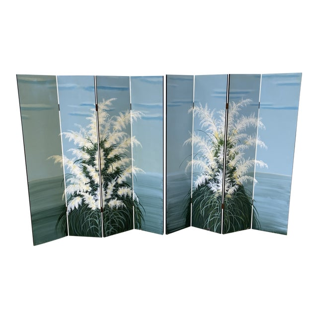 Pair Late 20th C. Hand-Painted Screens - Coastal Landscape For Sale