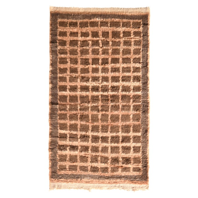 Hand Knotted Vintage Tulu Rug Beige Brown Shag Pile Geometric Pattern For Sale In New York - Image 6 of 6