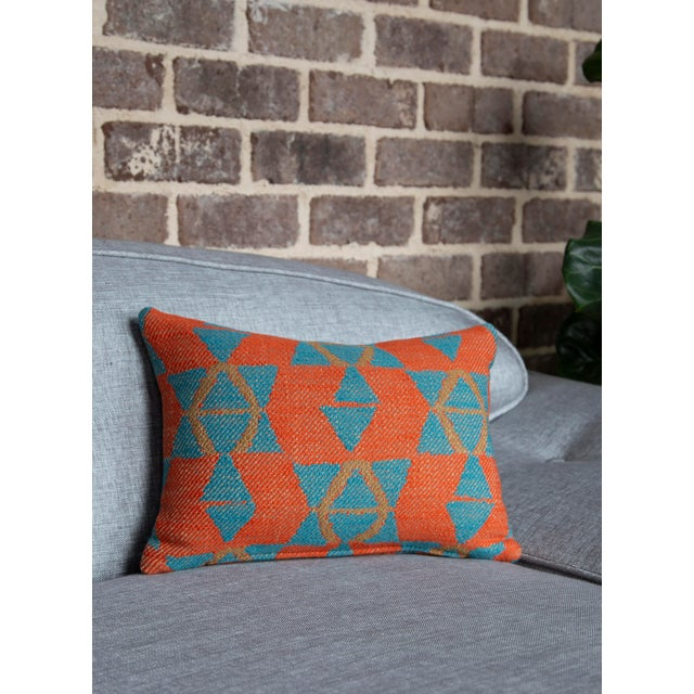Orange and Blue Triangles Pillow For Sale In Raleigh - Image 6 of 7