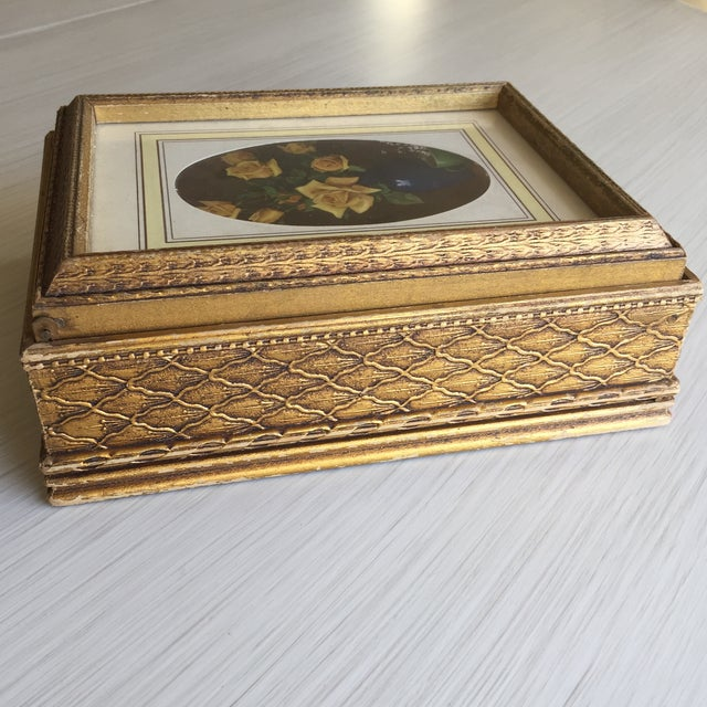 Antique Carved Wooden Jewelry Box - Image 9 of 11