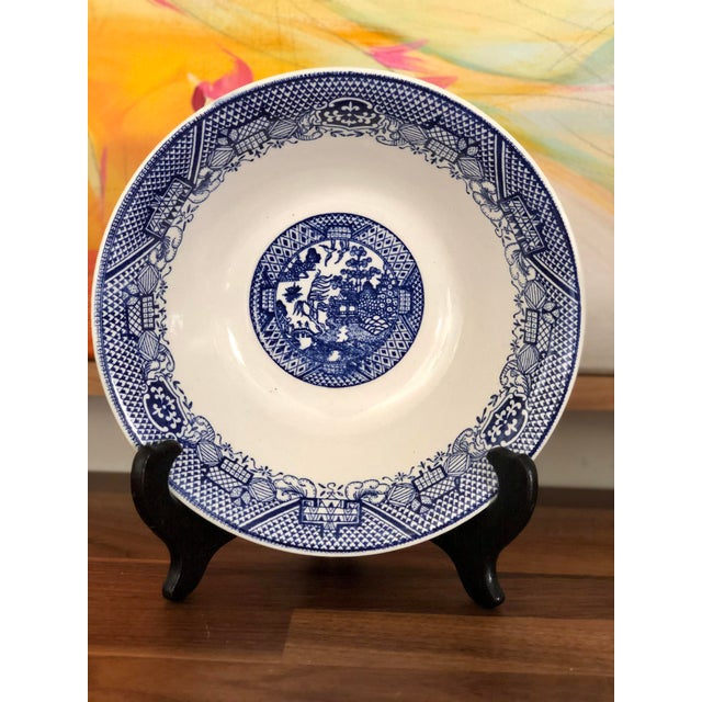 Blue Willow Transfer Ware Serving Pieces and Plates- Set of 7 For Sale - Image 4 of 8