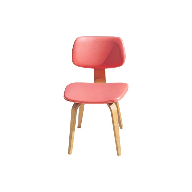 Thonet Vintage 1960 Bent Plywood Coral Vinyl Chair For Sale