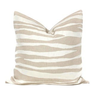 "20"" x 20"" Tan Linen Zebra Kravet Pillow Cover"