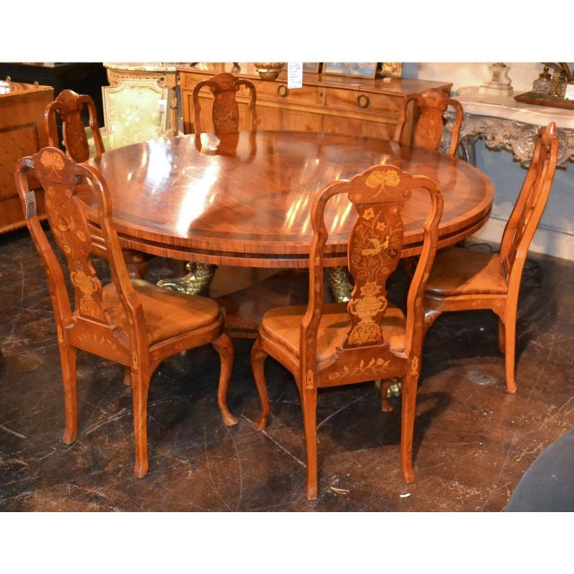 Brown Set of Six 19th Century Dutch Marquetry Inlaid Dining Chairs For Sale - Image 8 of 11