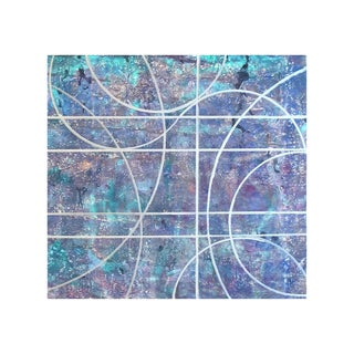 """Gudrun Mertes-Frady """"Forget Me Nots"""" Abstract Metallic Painting on Paper For Sale"""