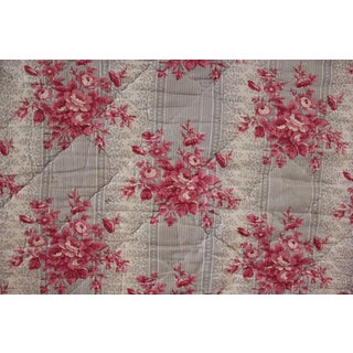 Antique 1850 French Floral Pink Gray Cotton Check Back Quilted Fabric For Sale