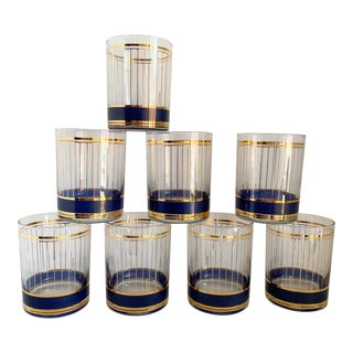 Mid Century Double Old Fashioned Rocks Glasses - Set of 8 For Sale