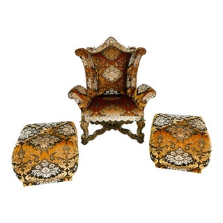 Baroque Pacific Design Rococo Armchair & Ottomans - Set of 3 For Sale
