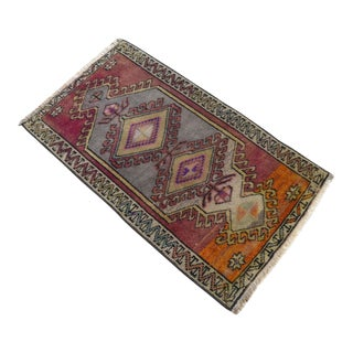 Distressed Low Pile Yastik Rug Faded Colors Vintage Small Rug - 22'' X 38'' For Sale