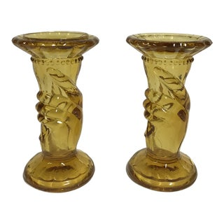 "Amber Glass Fenton ""Hand Holding Torch"" Taper Candle Holders - a Pair For Sale"