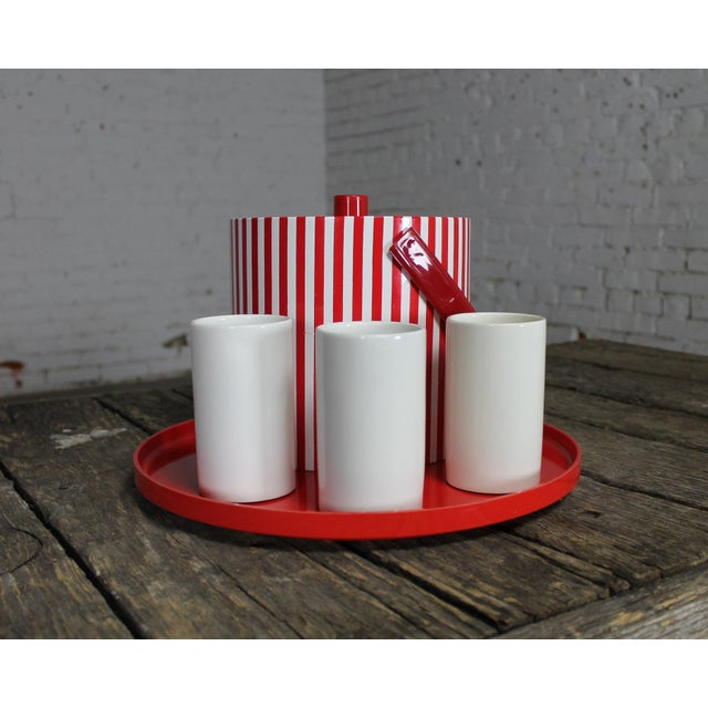 Mid-Century Modern Mid-Century Red & White Ice Bucket, Tumblers and Tray Beverage Set For Sale - Image 3 of 11
