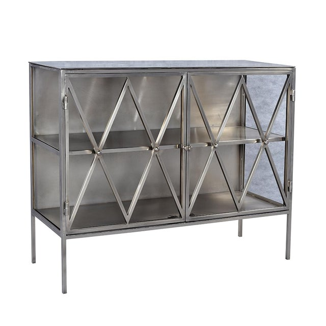 Industrial Nickel Finish Side Cabinet For Sale - Image 3 of 3