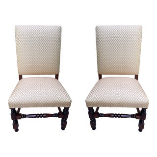 Fortuny Fabric Wood Dining Chairs With High Back - a Pair For Sale