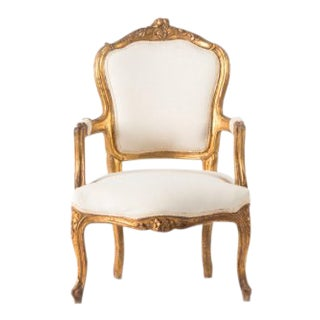 1930s Vintage Gold and Ivory Bergere Chair For Sale