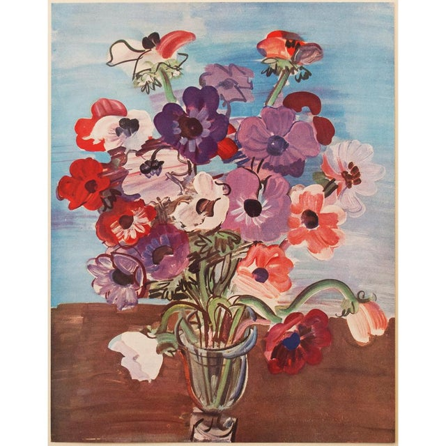 "A lovely original period tipped-in offset lithograph after painting ""Bouquet"" (1937) by Raoul Dufy. Signed in the print at..."