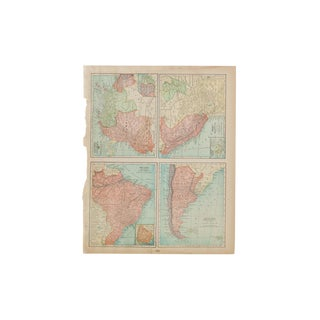 Cram's 1907 Map of Brazil For Sale
