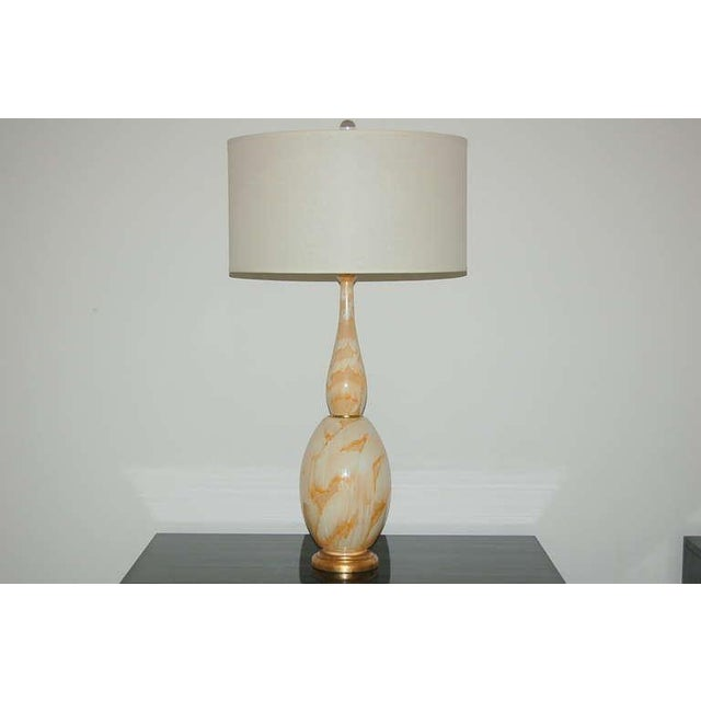 Vintage Italian Glass Vintage Italian Glass Table Lamps Peach Swirl For Sale - Image 4 of 8