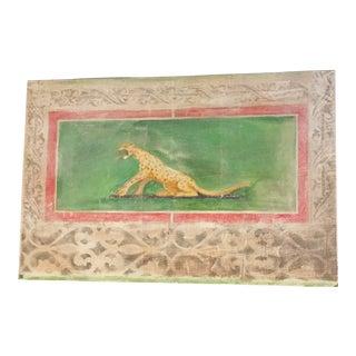 Leopard Fresco on Masonite For Sale