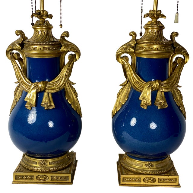 French Louis XV Style Powder Blue Urns as Lamps - a Pair For Sale - Image 3 of 13
