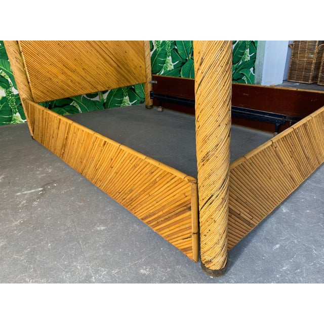 1970s Split Pencil Reed Rattan Queen Size Poster Bed For Sale - Image 5 of 8