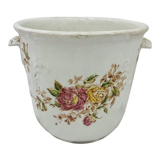 Antique Transferware Porcelain Cache Pot For Sale