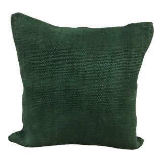 Turkish Green Hand Woven Kilim Pillow Cover For Sale