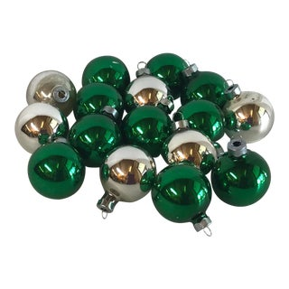 Vintage Green and Silver Glass Holiday Balls - Set of 16 For Sale